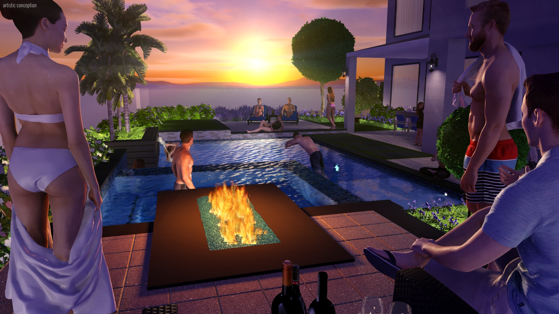 a computer aided design rendering of a group of people around a contemporary pool at sunset