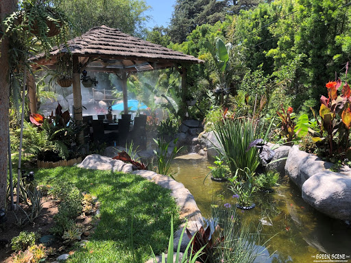 Landscaping design with pond used for privacy